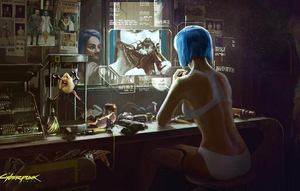 Картинка Девушка, Игра, Арт, Киборг, CD Projekt RED, Cyberpunk 2077, Киберпанк, Cyberpunk, Киберпанк 2077, Киборги, 2077, ...