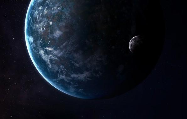 Картинка Звезды, Луна, Планета, Космос, Moon, Арт, Stars, Space, Art, Спутник, Planet, Satellite, Vadim Sadovski, by …