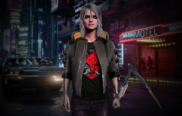 Картинка Girl, Car, Art, Photoshop, Witcher, Sword, Cyberpunk 2077, Cyberpunk, Ciri, Zireael