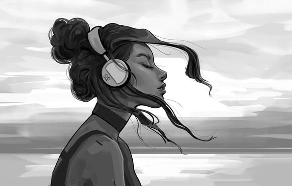 Картинка Девушка, Ч/б, Рисунок, Наушники, Girl, Волосы, Черно-белый, Арт, Art, Headphones, Hair, Artist, Black and white, …