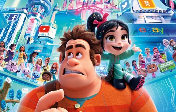 Картинка мультфильм, девочка, Ральф, Ральф против интернета