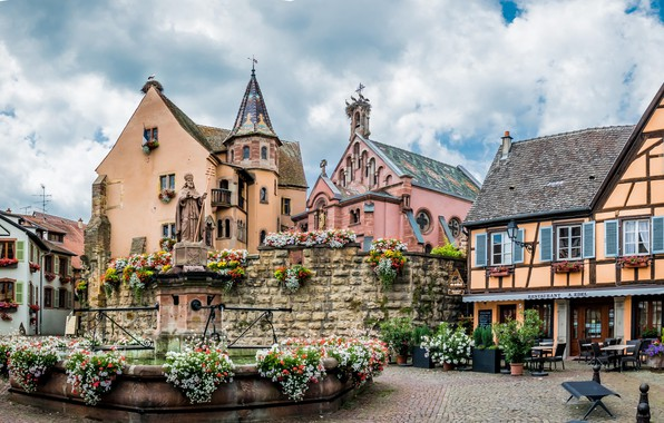 Картинка цветы, Франция, дома, памятник, фонтан, Эльзас, Эгисхайм
