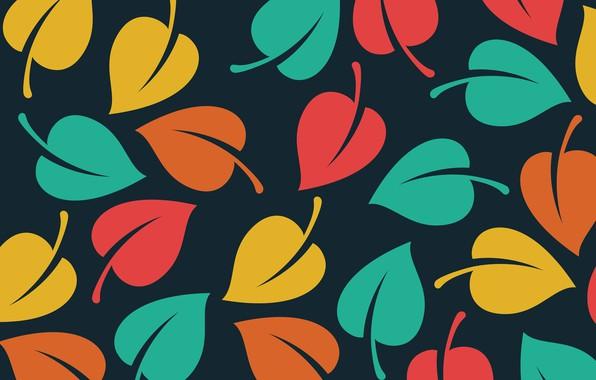 Картинка текстура, листочки, черный фон, Vector, Background, Leaves, Pattern