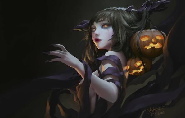 Картинка праздник, арт, тыква, хэллоуин, Dao Le Trong, Ms Halloween