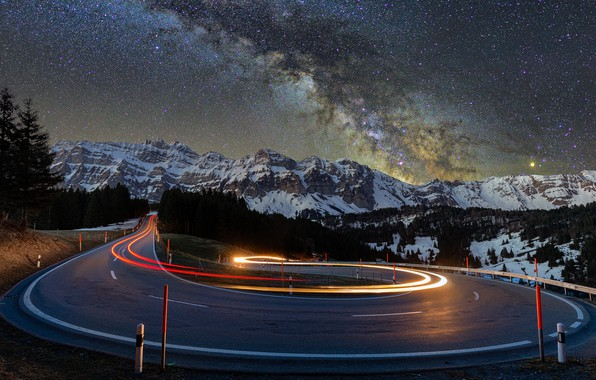 Картинка lights, road, trees, nature, night, mountains, snow, landscapes, asphalt, blur effect, snow-covered, starry, 4k ultra …