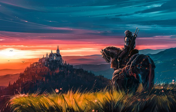 Картинка fantasy, game, twilight, sky, landscape, nature, sunset, evening, painting, horse, castle, weapons, digital art, artwork, …