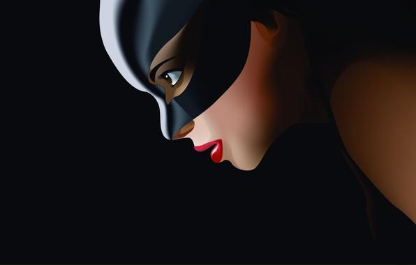 Картинка Минимализм, Рисунок, Костюм, Фон, Латекс, Комикс, Арт, Art, Женщина кошка, Comics, DC Comics, Catwoman, Characters, ...