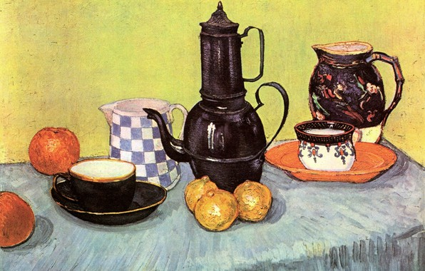 Картинка стол, яблоки, чайник, лимоны, Vincent van Gogh, Earthenware and Fruit, Still Life Blue Enamel Coffeepot