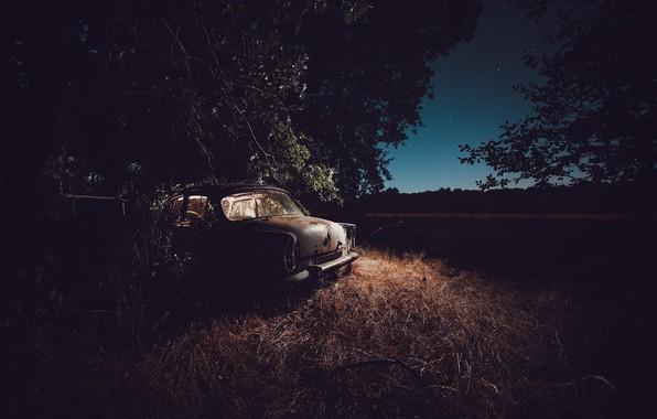 Картинка машина, ночь, лом