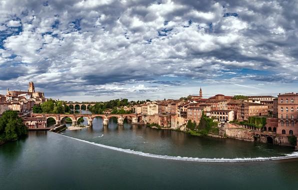 Картинка небо, облака, река, Франция, здания, дома, мосты, France, Tarn River, Albi, Альби, Река Тарн