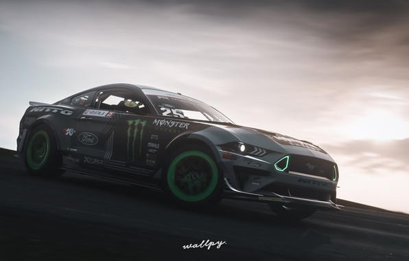 Картинка Mustang, Ford, Microsoft, RTR, Monster Energy, game art, 2019, Forza Horizon 4, by Wallpy
