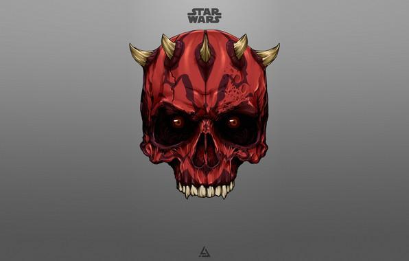Картинка Минимализм, Рисунок, Star Wars, Dark, Фон, Darth Maul, Dark Side, Арт, Ситх, Darth, Sith, Дарт …