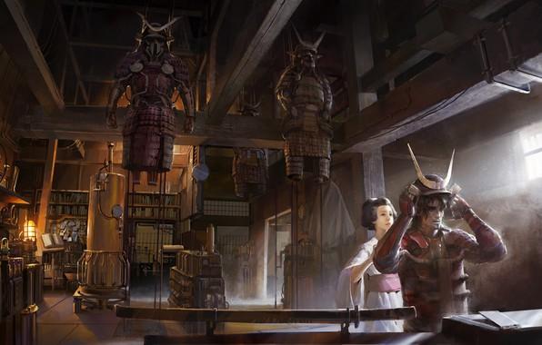 Картинка воин, рога, шлем, помещение, Steampunk samurai mash up