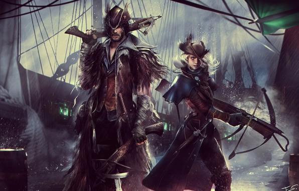 Картинка девушка, шляпа, мужчина, охотник, art, арбалет, bloodborne, FromSoftware, SCE Japan Studio