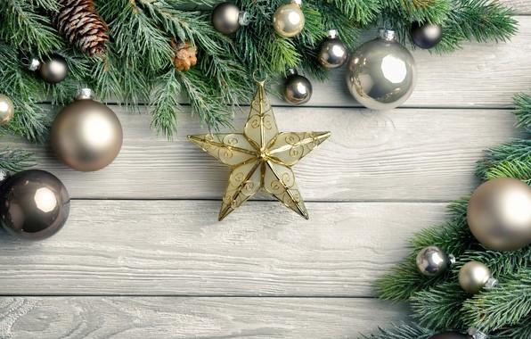 Картинка праздник, шары, игрушки, новый год, Звезда, шишки, композиция