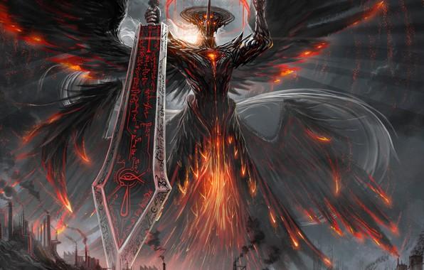 Картинка город, оружие, демон, фэнтези, арт, лава