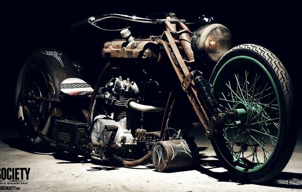 Картинка Chopper, Custom, Rims, Engine, Motorcycle, Spokes