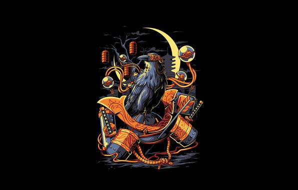 Картинка Moon, Art, Night, Vector, Background, Bird, Samurai, Illustration, Minimalism, Katana, Armor, Crow, Angga Tantama