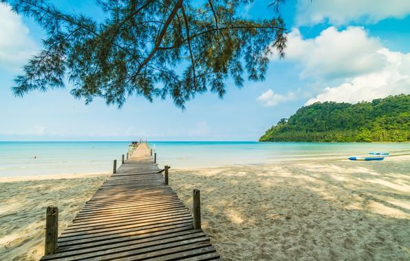 Картинка песок, море, волны, пляж, лето, небо, пальмы, берег, summer, beach, sea, seascape, beautiful, sand, paradise, …