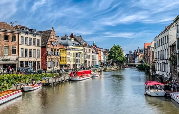 Картинка река, здания, дома, лодки, Бельгия, набережная, Belgium, Гент, Ghent, Река Лейе, Leie River