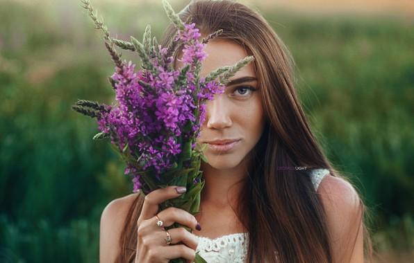 Картинка взгляд, девушка, платье, цветочки, Alexander Drobkov-Light, Анжелика Заварзина