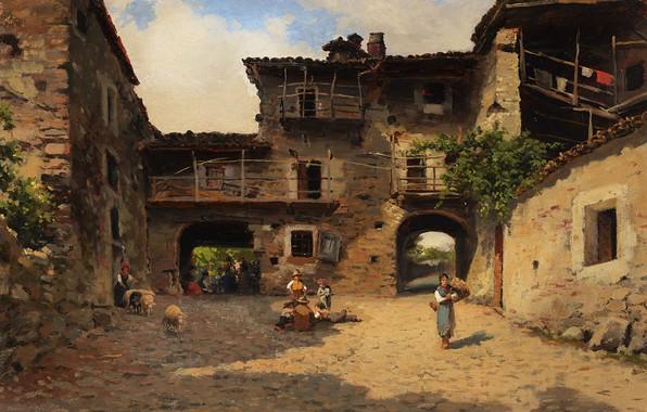 Картинка итальянский живописец, Italian painter, Сильвио Пома, oil on tablet, Silvio Poma, Rural life scene, Scena …