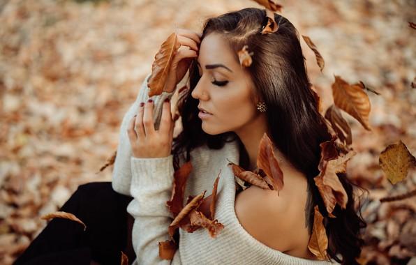 Картинка осень, листья, девушка, лицо, поза, настроение, волосы, руки, плечо, закрытые глаза, Andreas-Joachim Lins, Jaqueline Dube