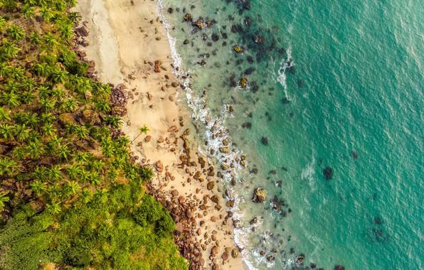 Картинка waves, beach, rocks, sand, tide, tropical, aerial view