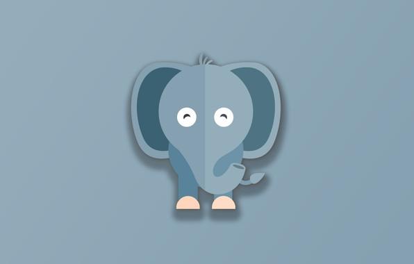 Картинка minimalism, animal, funny, digital art, artwork, cute, Elephant, simple background, gray background