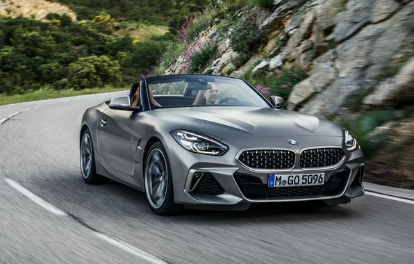 Картинка дорога, камни, серый, разметка, растительность, BMW, склон, родстер, BMW Z4, M40i, Z4, 2019, G29