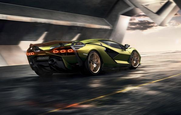 Картинка машина, Lamborghini, суперкар, гибридный, Sián