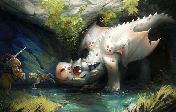 Картинка дракон, фэнтези, арт, рыцарь, охотники, Andrea Radeck, SCG - Dragon