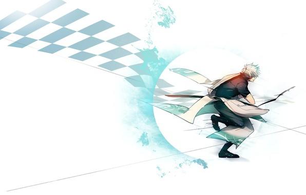 Картинка меч, белый фон, парень, атакует, Gintama, Sakata Gintoki, Гинтама, шахматная клетка, Гинтоки Саката