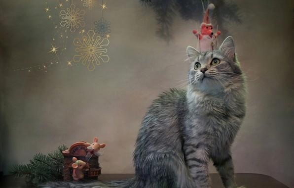 Картинка кошка, кот, снежинки, животное, новый год, ель, ветка, мыши, фигурки, Ковалёва Светлана, Светлана Ковалёва