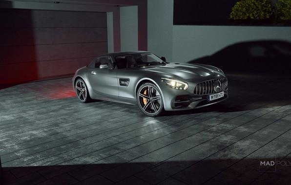 Картинка Авто, Ночь, Машина, Серый, Автомобиль, Mercedes-Benz AMG, Transport & Vehicles, Mercedes-Benz AMG GT C Roadster, ...