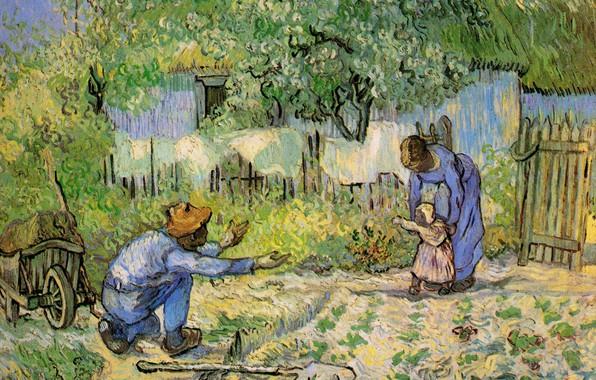 Картинка радость, отец, лопата, мать, возвращение, дочка, Винсент ван Гог, First Steps, after Millet