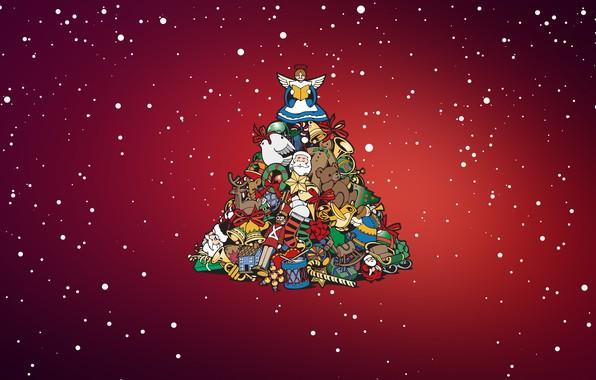Картинка Минимализм, Снег, Рождество, Снежинки, Фон, Новый год, Праздник, Арт, Christmas, Art, Настроение, Ёлка, Игрушки, Snow, ...