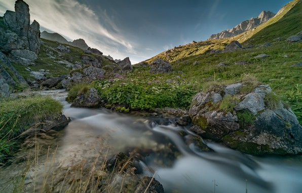 Картинка горы, камни, Франция, речка, Савойя