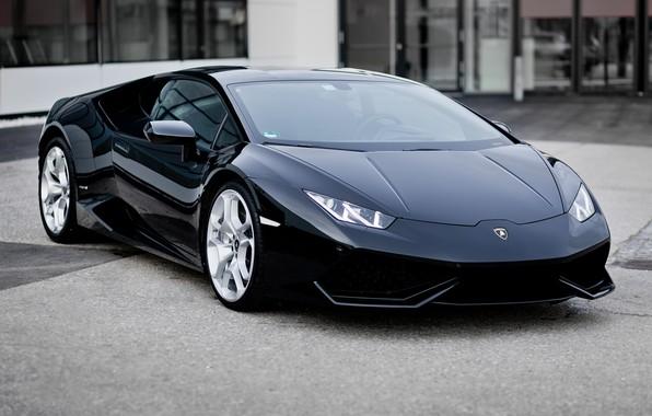 Картинка машина, авто, черный, Car, Ламборгини, Lamborghini Huracán, фон улица, Lamborghini Huracán LP 610, Lamborghini Lp …