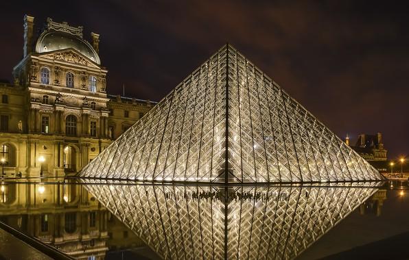 Картинка ночь, город, огни, Франция, Париж, Louvre Pyramid