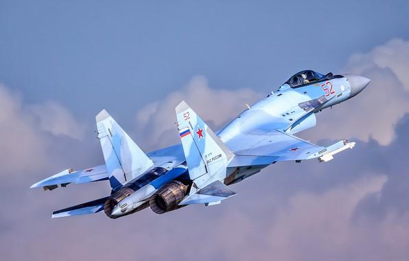 Картинка небо, полёт, Су-35, Su-35, ВКС России, сверхманёвренный истребитель, поколение 4++