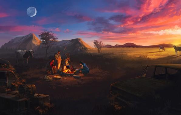 Картинка поле, закат, коровы, костер, заставка, путники, привал, Atom RPG
