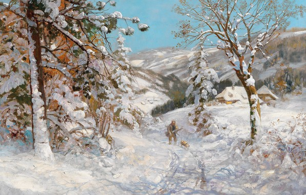 Картинка Alois Arnegger, Austrian painter, австрийский живописец, oil on canvas, Алоис Арнеггер, Охотник в зимнем лесу, …