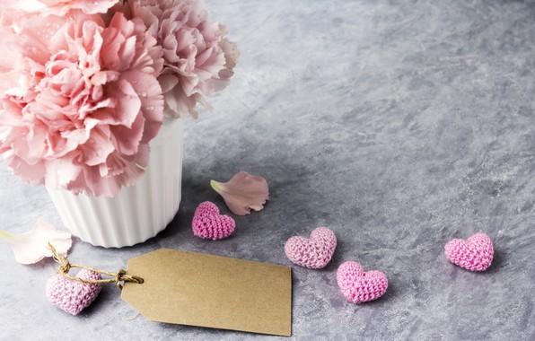 Картинка цветы, подарок, кружка, сердечки, love, розовые, pink, flowers, beautiful, cup, romantic, hearts, gift, гвоздики, carnation