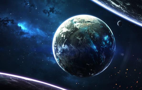 Картинка Звезды, Планета, Космос, Туманность, Звезда, Планеты, Искры, Planets, Star, Арт, Stars, Space, Art, Спутник, Planet, ...