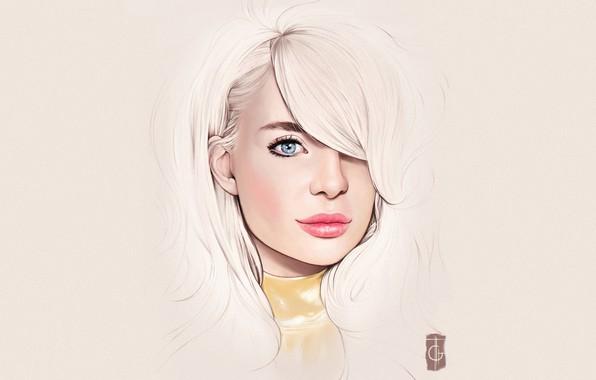 Картинка Девушка, Минимализм, Блондинка, Губы, Girl, Глаза, Фон, Арт, Beautiful, Sexy, Art, Eyes, Секси, Красивая, Background, …