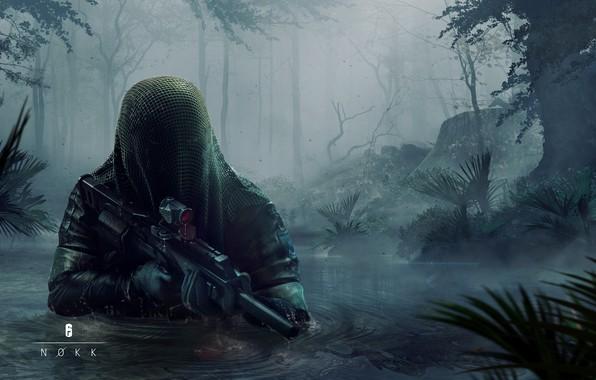 Картинка вода, деревья, оружие, арт, прицел, накидка, art, Ubisoft, спецназ, глушитель, Tom Clancy's Rainbow Six Siege, …