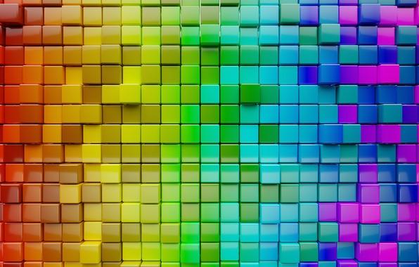 Картинка colors, colorful, abstract, Cubes, minimalism, textures, digital art, artwork, CGI
