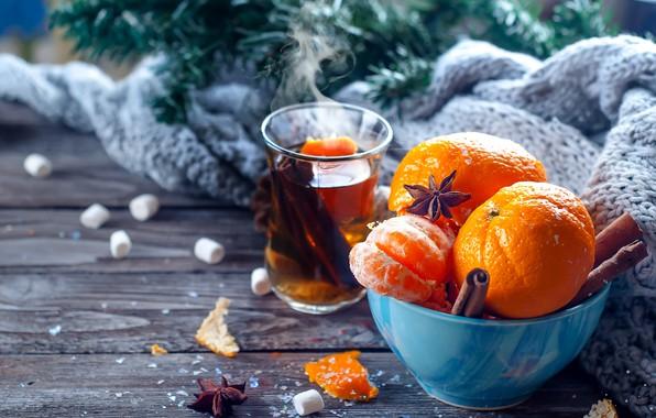 Картинка снег, украшения, Новый Год, Рождество, Christmas, wood, winter, snow, fruit, New Year, мандарины, decoration, tangerine, …