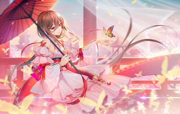 Картинка девушка, закат, зонтик, бабочка, Vocaloid, TID